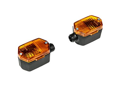 MZA Set: 2 Blinker 6-eckig in Schwarz mit orangenem Glas - Simson S53, S83, SR50, SR80, MZ ETZ