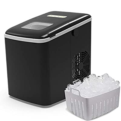 Terra Hiker Portable Ice Maker for Countertop, Ice Ready in 6 Minutes, 28 lbs (13 kg) Ice in 24 Hours, No Water Line and Drain Line Required, Home Ice Machine with Ice Scoop and Basket