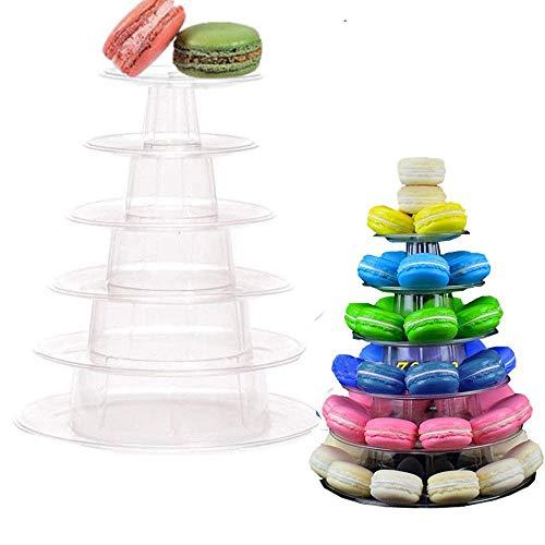 Velidy Makronenständer mit 6 Ebenen, rund, für Hochzeit, Geburtstag, Dekoration