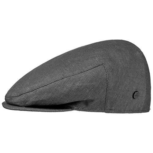Lierys Inglese Leinen Flatcap Herren - Flat Cap Made in Italy - Schiebermütze aus Leinen und Baumwolle - Sommermütze im Denim-Look - Mütze Frühjahr/Sommer schwarz 57 cm