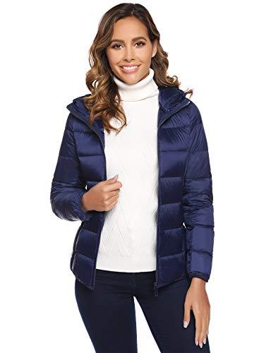 Doudoune Femme Manteau Femme à Capuche Veste Léger Matelassée Blouson Chaud Chic Manches Longues Hiver,XL,Bleu Marine 2