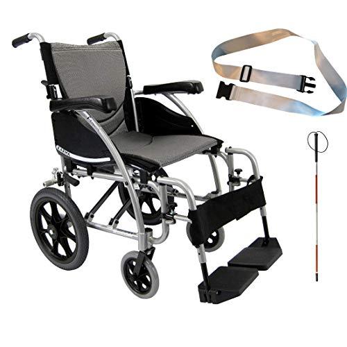 Karman S-Ergo 115 Ultra Lightweight Ergonomic Transport Wheelchair, Fixed Wheel, 18' Seat Width in Silver & Free Folding Blind Cane + Silver Wheelchair Seatbelt!