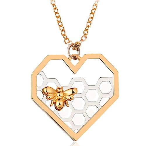 lefeindgdi Love Heart Pendant Necklace,Jewelry Necklace Sets, Ladies Necklace, Heart Bee Necklace Women Lady Fashion Accessories, Valentine's Day, Birthday Gift for Women Girlfriend Wife