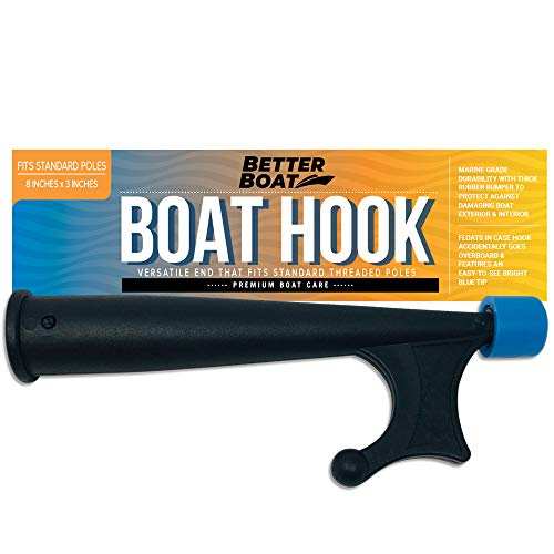 Boat Hook with Standard Pole Screw End 3/4' Thread | Handy Hook Boating Accessories with Rubber Bumper Push Stick Motorboat Sailboat Pontoon (Extension Pole or Telescoping Pole Not Included)