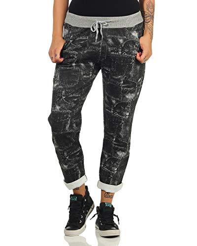 ZARMEXX Pantalones de chándal para Mujer Holgados Estilo Boyfriend Pantalones de chándal con Estampado Integral para el Ocio y el Deporte