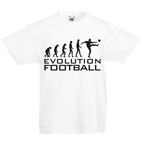 lepni.me Camiseta para Niño/Niña La evolución del fútbol - Camiseta de fanático del Equipo de fútbol de la Copa Mundial (14-15 Years Blanco Negro)