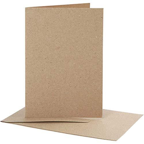 Natur-Kartenset, 10 Doppelkarten mit 10 Umschlägen, Kraftpapier, Säurefrei, Ligninfrei, Kartengröße 10,5x15 cm, Umschlaggröße 11,5x16,5 cm
