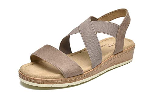 VJH confort Women's Flat sandals, Comfort Slip-on Elastic ankle strap Slingback Light Weight Casual Walking Sandals (taupe,8)