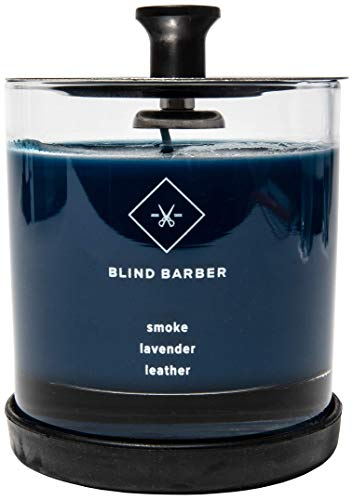 Blind Barber Tompkins Scented Candle - Long Lasting Soy Wax Man Candle in Barber Style Glass Jar with Notes of Leather, Smoke & Lavender - 40 Hour Burn Time (6.2 Ounce)
