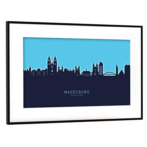 artboxONE Poster mit Rahmen Schwarz (Metallic) 45x30 cm Magdeburg Skyline Glow Blue von Michael Tompsett