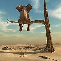 """象は木の枝に座っています現代アートキャンバスポスターとプリントシュルレアリスムアート絵画面白いアート動物の写真家の装飾40x40cm / 15.7""""x15.7""""フレームレス"""