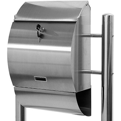 Maxstore STILISTA Briefkasten V2A Edelstahl Standbriefkasten mit Zeitungsfach, Postkasten unterschiedliche Designs, Höhe 120-144cm, Schwere Qualität (6-8kg) - 40100021