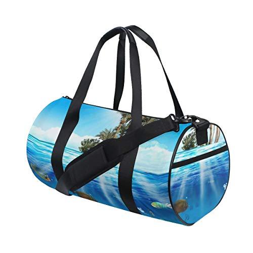 HARXISE Blaues Leben-Unterwasserszene fischt Muschel-Tier-Natur-Blasen-buntes Aquarium Dee,Reisegepäcktasche Sport Leichte Segeltuch Fitness Gepäcktrommel Handtasche Abnehmbar
