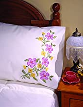 Tobin Stamped Pillowcase Pair for Embroidery, 20 by 30-Inch, Fragrant Floral