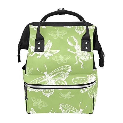 Green Insects Cricket Butterfly Pattern Bolsas de pañales Momia Tote Bolsas de gran capacidad multifunción mochila para viajes