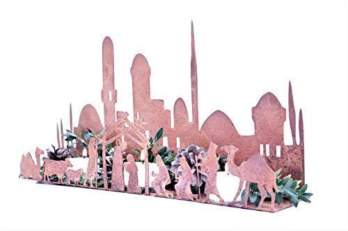 Rostikal Crèche de Noël Décoration de Noël Figurines de Crèche Crèche avec Figurines Rouille Décoration Métal Patine - Patine, 660 x 130 cm