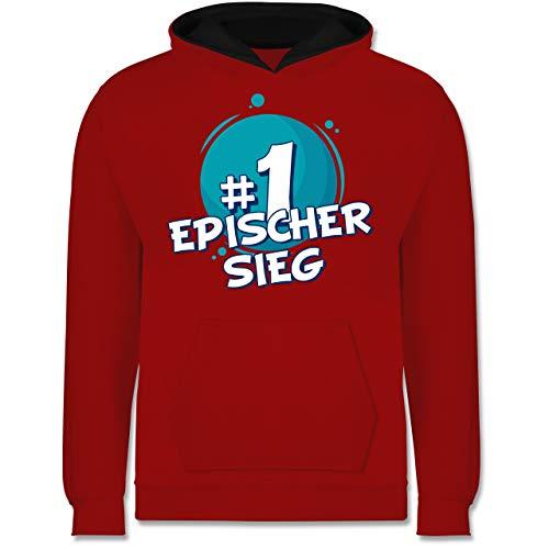 Shirtracer Up to Date Kind - #1 Epischer Sieg - 152 (12/13 Jahre) - Rot/Schwarz - epischer Sieg, Kinder Hoodie - JH003K - Kinder Kontrast Hoodie