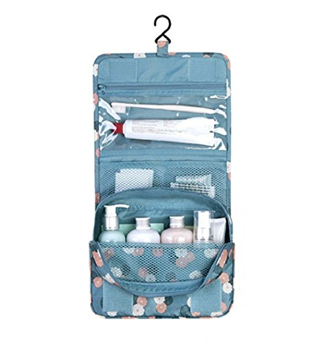 NOVAGO Bolsa de aseo / Organizador especialmente concebido para los viajes, el maquillaje y artículos de higiene personal - tamaño L (Flores / Azul)