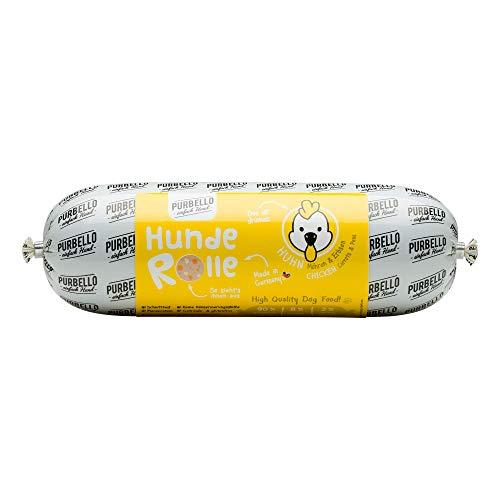 PURBELLO Hunde-Rolle Huhn mit Möhren & Erbsen - Monoprotein Hundefutter mit hohem Fleischanteil - Nassfutter für Hunde - Hundewurst Schnittfest & Getreidefrei - 8 x 800 g