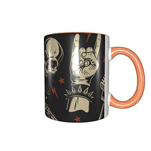 Taza de café retro con diseño de calavera y guitarra, 325 ml, taza de té para oficina y hogar