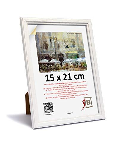 3B Marco de Fotos Jena - Blanco - 15x21 cm (A5) - Marco de Madera, Foto, parojo y sobremesa con Vidrio de poliéster (lámina de plástico)