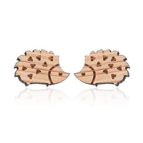 『ピアス ハリネズミ 木製 ウッド ビンテージ レディース ねずみ アニマル 小ぶり スタッド』の1枚目の画像