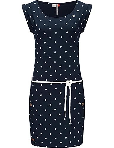 Ragwear Damen Kleid Baumwollkleid Sommerkleid Jerseykleid Tag Dots Navy21 Gr. S