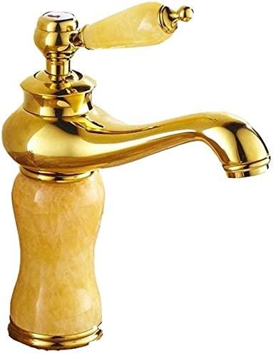 TEPET Grifo de Agua fría y Caliente del Lavabo del Lavabo del Jade del Oro del Cobre Antiguo Europeo (Color: B)