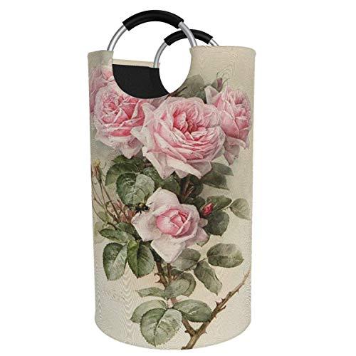 Suzanne Betty Cesto para la colada extragrande, de 82 l, con diseño de rosa vintage, plegable, con asas de aluminio, cesta grande para la ropa de niños, cesta de almacenamiento redonda para dormitorio