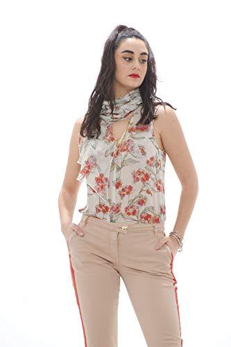 Patrizia Pepe - Body de mujer efecto camisa de fantasía floral White Flowers 40