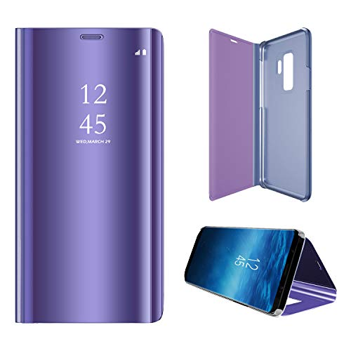 Hexcbay Funda Samsung Galaxy S9, Samsung Galaxy S9 Plus, Elegant Mirror Flip Funda Protectora Ultra Delgada Resistente a Prueba de Golpes Funda para Galaxy S9/S9 Plus (Samsung S9, Púrpura)