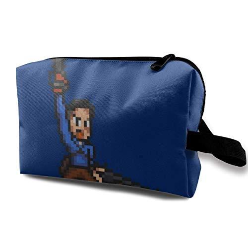 Schminktasche Kosmetiktasche Ash Evil Dead Pixel Kettensäge Multifunktionale Tasche Travel Kit Aufbewahrungstasche