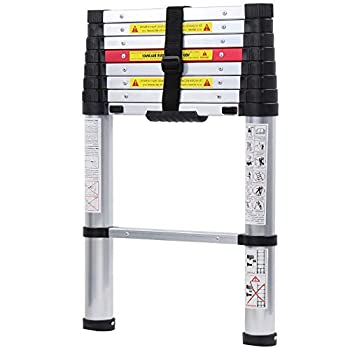 WolfWise 8.5FT Aluminum Telescoping Ladder Collapsible Extension Ladder 330lbs Max Capacity