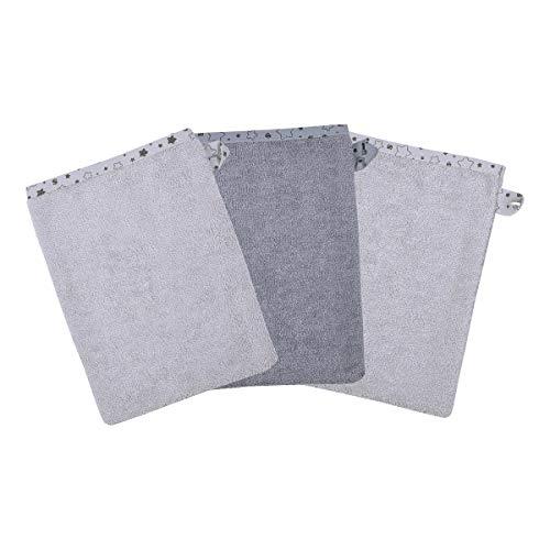 Wörner Lot de 3 gants de toilette 15 x 21 cm gant de toilette bébé, gris