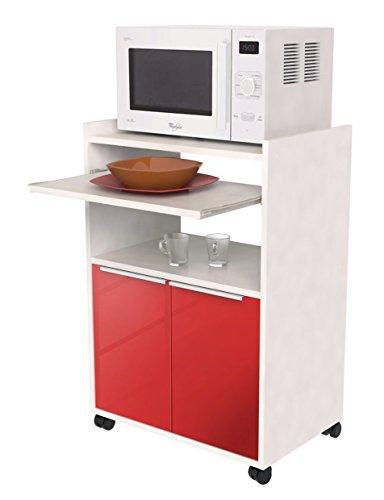 Berlioz Creations–Mesa Auxiliar de Cocina con microondas, Otros, Rojo Brillante, 60 x 40