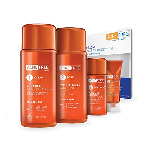 AcneFree Severe Acne 24 Hour Clearing System, 4 Step Routine Kit Designed for Stubborn Acne