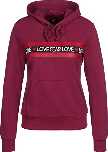 Converse Sweater Damen Love The Progress Hoodie 10017330 Dunkelrot 671, Größe:XL