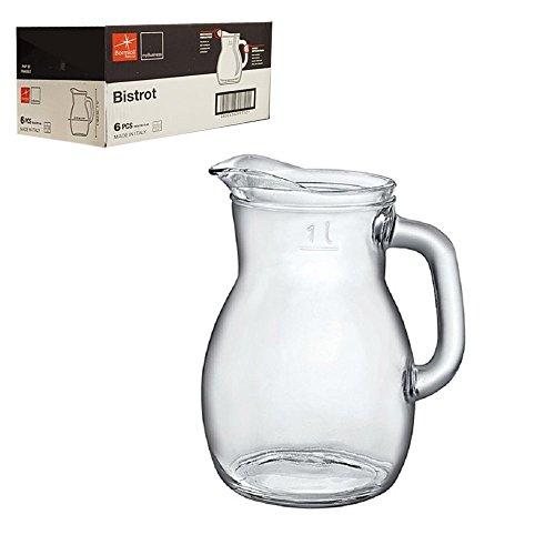 Brocca Caraffa Decanter per vino acqua bevande della Bormioli modello Bistrot capienza 1 litro - cartone da 6 pezzi