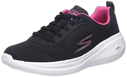 Skechers Go Run Fast-glide Zapatillas Mujer, Negro (Black Textile/Pink Trim Bkpk), 35 EU (2 UK)