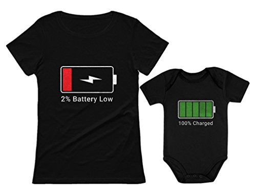 100% Charged and Low Battery Baby Bodysuit & Women's T-Shirt Funny Matching Set Mom Black X-Large / Baby Black 18M (12-18M)