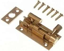 DOOR BARREL SLIDE BOLT CRANKED OFFSET 50MM 2 INCH BRASS + SCREWS ( pack of 3 )