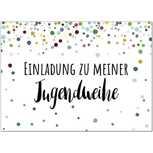 15 x Einladungskarten zur Jugendweihe mit Umschlag/Konfetti Motiv für Mädchen und Jungen/Jugendweihekarten/Einladungen zur Feier