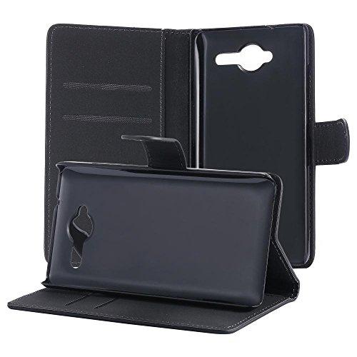 ECENCE Handyhülle Schutzhülle Case Cover kompatibel für ZTE Blade L3 + Panzerfolie Handytasche Schwarz 24030206