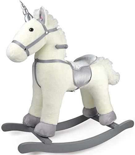 leomark Unicorno a Dondolo Cavallo - Romeo - in Legno, Animale Peluche per Bambini con Suono, Morbido Allenamento dell'equilibrio, con Un Corno Argenteo, Altezza: 76 cm (Silver)