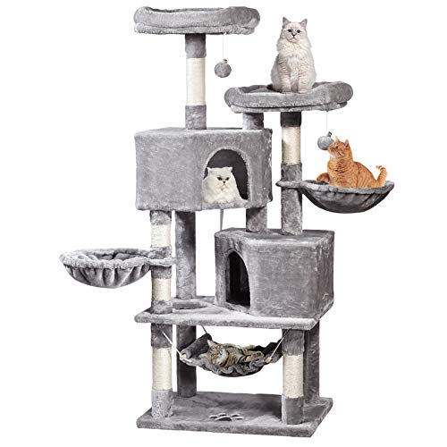 MQFORU 145 cm Cat Tree Tower with Sisal Scratching Posts Condos Hammock Plush Perches, Cat Activity Centres Kittens Furniture Play House, Light Grey