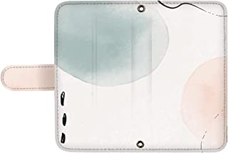 スマQ Galaxy Feel SC-04J 国内生産 カード スマホケース 手帳型 SAMSUNG サムスン ギャラクシー フィール 【D.ターコイズピンク】 手書き風 水彩ドット ami_vd-0097_sp