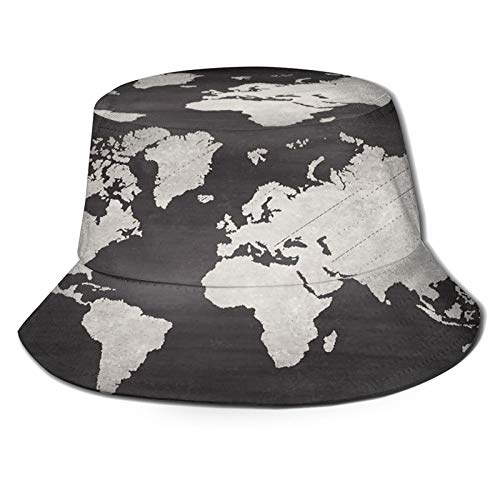 RUEMAT Fisherman Hats for Unisex,World Map On Blackboard Chalkboard Texture,Foldable Portable Packable Bucket Sun Hat Fishing Cap for Fishing Hunting Hiking Camping Beach Golf