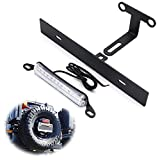 iJDMTOY Rear Spare Tire Mount License Plate Relocator Bracket w/ 12-SMD LED License Plate Light Compatible With 2007-2017 Jeep Wrangler JK