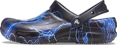 Crocs Men's and Women's Bistro Clog   Slip Resistant Work Shoe, Black/Lightning Bolts, 10 Women / 8 Men