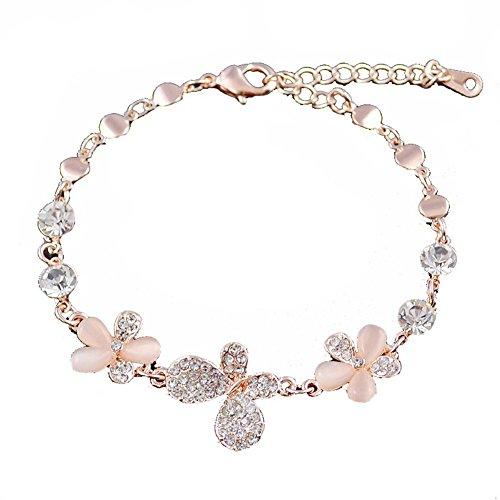 En forme de coeur Bracelet en or rose Bracelet main Bijoux Fashion Améthyste